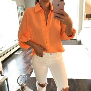 Alice + Olivia Silk tang orange button down shirt